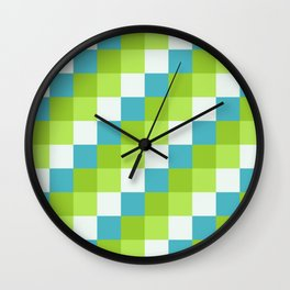 Apples and Pears - Pixelated Pattern with blues and green  Wall Clock
