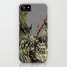 FOREST  WOODS OWL FAMILY GREY ART DESIGN  ART iPhone Case