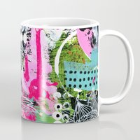 alisa burke Mugs featuring pink and black by Alisa Burke