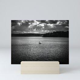 Lonely Ship Buoy Halt Weiterfahrt Verboten Möhne Reservoir Lake bw Mini Art Print