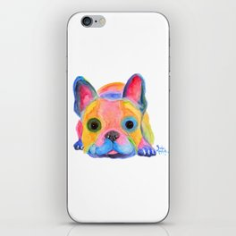 Nosey Dog French Bulldog ' AM I FRENCH ? ' by Shirley MacArthur iPhone Skin