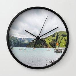 Daly's Pier, Akaroa, New Zealand Wall Clock