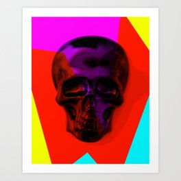 Skull on colours Art Print