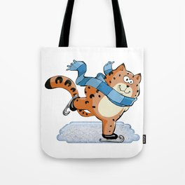 Spotted Ginger Cat with Scarf Ice Skating on Pond Tote Bag