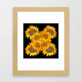 Golden Yellow Sunflowers on Black Color Framed Art Print