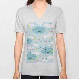 Children's pattern in happy clouds Unisex V-Neck