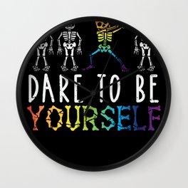 Gay Pride Rainbow Gay Dabbing Skeleton LGBT Gift Wall Clock