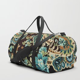 Brown Turquoise Paisley Duffle Bag