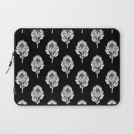 Linocut Protea flower printmaking pattern black and white floral Laptop Sleeve