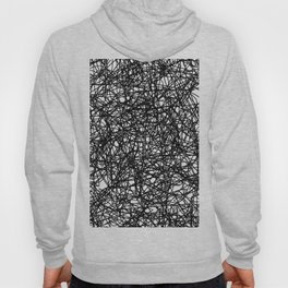 Angry Scribbles - Black and white, abstract, black ink scribbles pattern Hoody