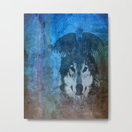 Raven and Wolf Metal Print