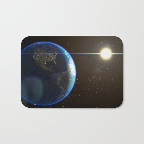 Night Lighted Earth from space  Bath Mat