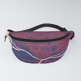 Vancouver, BC, Canada, Blue, White, City, Map Fanny Pack