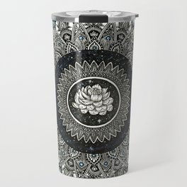 Black and White Flower Mandala with Blue Jewels Travel Mug