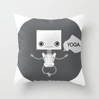 yoga Throw Pillows featuring Yoga by Duan Riley