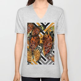 AWESOME  ORANGE-YELLOW BUTTERFLY GRAPHIC MODERN ART Unisex V-Neck