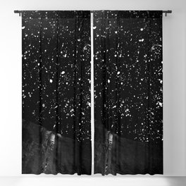 Moon Rising in the dark Black and White Blackout Curtain