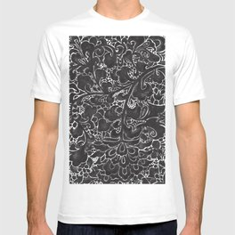 Watercolor Chinoiserie Block Floral Print in Black Ink Porcelain Tiles T-shirt