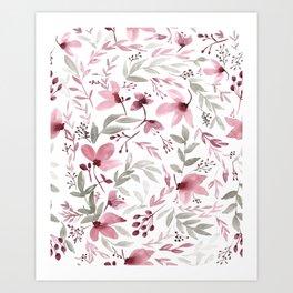 Rustic Floral - Watercolor Flowers Burgundy Pink Art Print