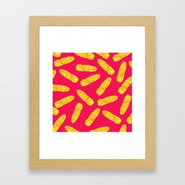 Funny Cute Hand Drawn Corn on the Cob on Neon PInk Framed Art Print