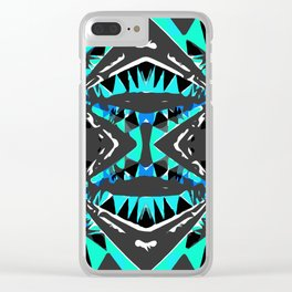 psychedelic geometric abstract pattern background in blue green black Clear iPhone Case