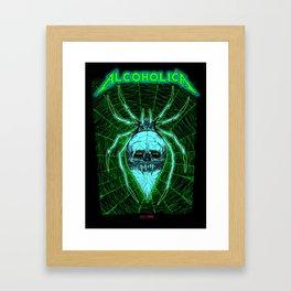 ALCOHOLICA SPIDER SKULL WEB 80's thrasher Framed Art Print