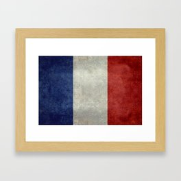 French Flag with vintage textures Framed Art Print