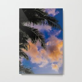 Sunset Bali Palmtree | Rice Fields (Tegalalang) During Sunset | Aerial Photography Metal Print