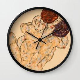 """Egon Schiele """"Mann und Frau (Umarmung)"""" Wall Clock"""