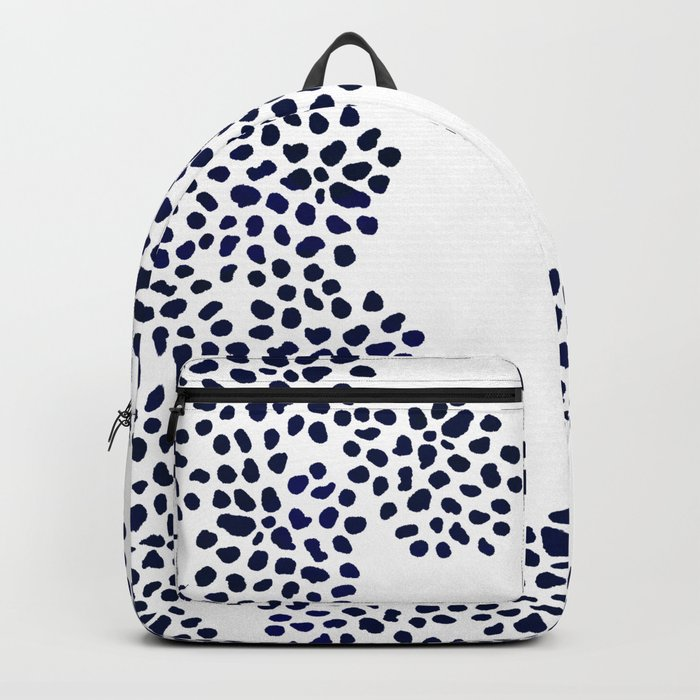 Modern china blue watercolor hand painted abstract geometric dots pattern Backpack