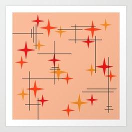 Mid Century Modern Stars Burnt Orange Art Print
