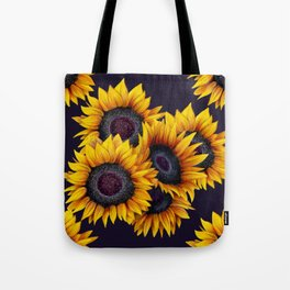 Sunflowers yellow navy blue elegant colorful pattern Tote Bag