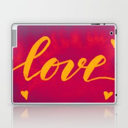 Valentine's Day Watercolor Love – magenta and yellow Laptop & iPad Skin