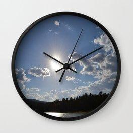 Sun Over Lake in White Mountains Arizona Wall Clock