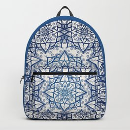 Blue Floral Pattern on Cream Backpack