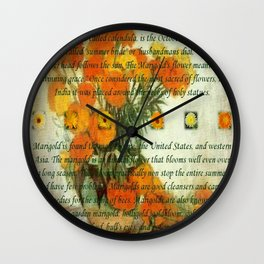 October's Child Birthday Card with Text and Marigolds Wall Clock
