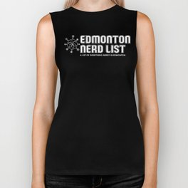 Edmonton Nerd List (B&W on dark) Biker Tank