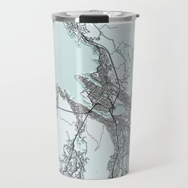 Bergen, Norway, White, City, Map Travel Mug