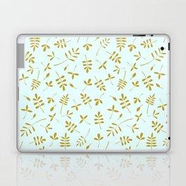 Gold Leaves Design on Light Blue Laptop & iPad Skin