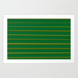 Emerald Green and Honey Gold Thin Stripes Art Print
