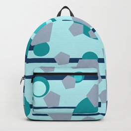 Geometric turquoise grey mix Backpack