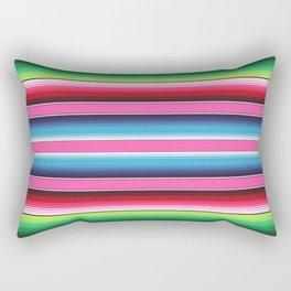 Pink Green Blue Mexican Serape Blanket Stripes Rectangular Pillow