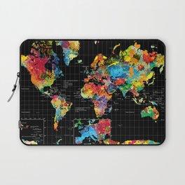 World Map Black - 1 Laptop Sleeve