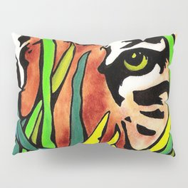 Tiger Eyes Looking Through Tall Grass By annmariescreations Pillow Sham