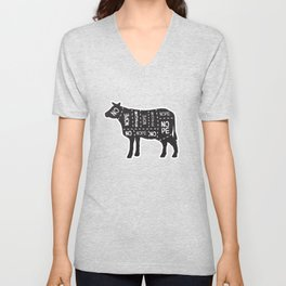 vegetarian vegan cow no meat cut chart diagram Unisex V-Neck