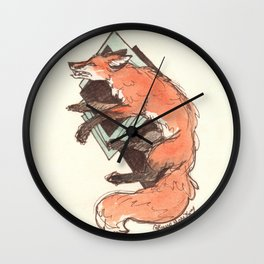 Endlessly Endure Red Fox Watercolor Drawing Wall Clock