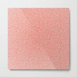 Leopard Print | Living Coral Pink with Tan Background | girly pastel | Cheetah Metal Print