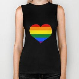 LGBT+ Rainbow Pride Heart Biker Tank