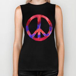 Patriotic Peace Sign Tie Dye Watercolor on Blue Biker Tank