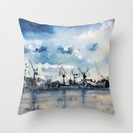Original Watercolor Landscape of a Stormy Sky over the Gulf of Finland Throw Pillow